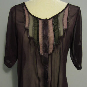 Miss Chievous Sheer Button Up Black Purple Top ~ M